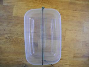 Den Lederriemen um die Plastikbox spannen